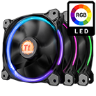3x [RGB] Thermaltake Riing 12 Series High Static Pressure LED 120mm Fan