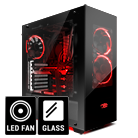 iBUYPOWER Element Gaming Gehäuse (Front & Seite Tempered Glas) 3 x Arc Halo Fans Rot