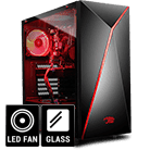 iBUYPOWER Alpha Gaming Gehäuse (Seite Tempered Glas) 1 x Arc Halo Fans Rot